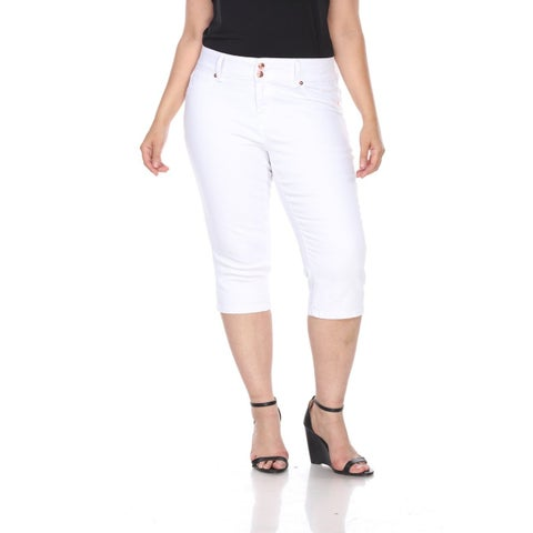 Plus Size Super Stretch Capri Denim Jeans - White