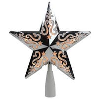 "8.5"" Silver Star Cut-Out Design Christmas Tree Topper - Clear Lights"