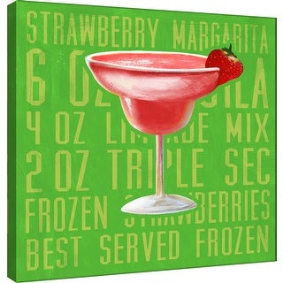 """PTM Images 9-100034  PTM Canvas Collection 12"""" x 12"""" - """"Strawberry Margarita (Square)"""" Giclee Liquor & Cocktails Art Print on"""