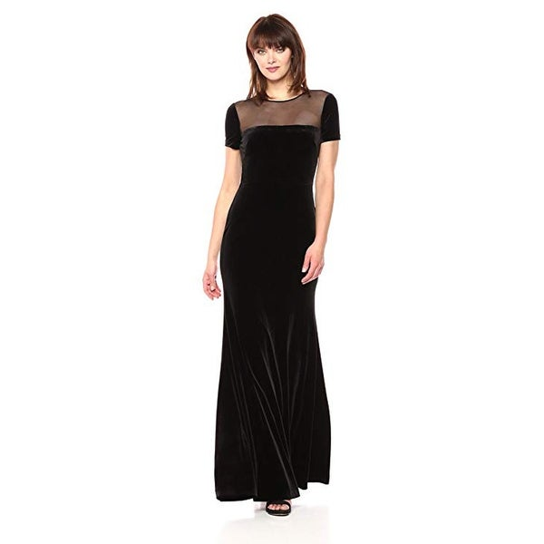 Vera Wang Women's Cap Sleeve Velvet Gown Sheer Yoke