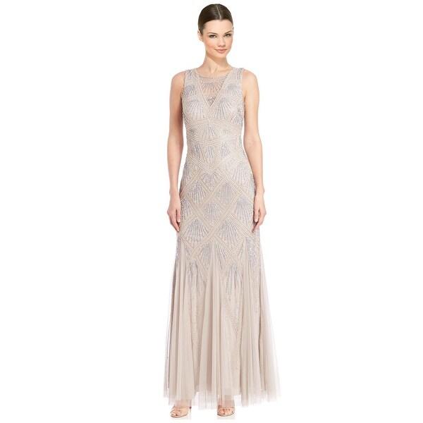 Aidan Mattox Beaded Godet Evening Gown Dress