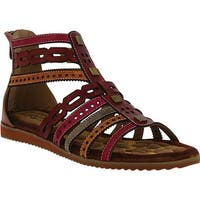 L'Artiste by Spring Step Women's Anjula Gladiator Sandal Bordeaux Multi Leather