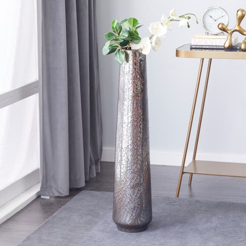 Silver Ceramic Contemporary Vase 36 x 8 x 8 - 8 x 8 x 36