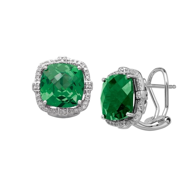 8 ct Created Emerald & 1/5 ct Diamond Earrings in Sterling Silver - Green