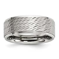 Stainless Steel Brushed and Polished Textured Band Ring - Sizes 8 - 12
