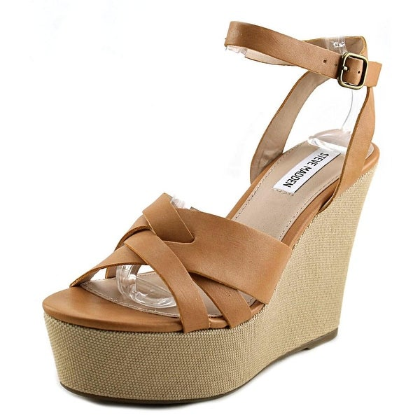 Steve Madden Orlena Women Open Toe Synthetic Tan Wedge Sandal