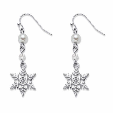 Silvertone Round Simulated Pearl and Bead Snowflake Drop Earrings