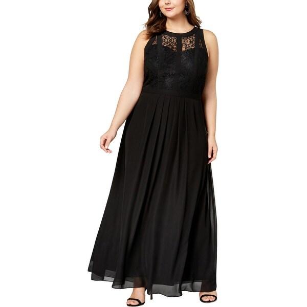Betsy & Adam Womens Plus Evening Dress Lace Chiffon