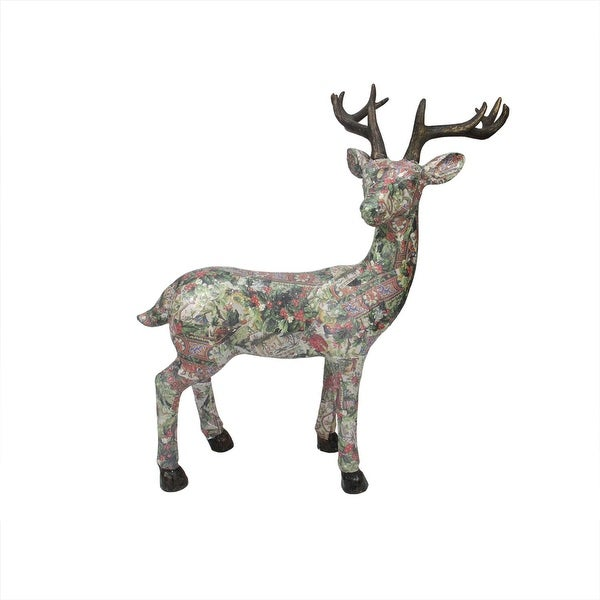 """27"""" Victorian Holly Berry Decoupage Stag Deer Reindeer Table Top Decoration"""