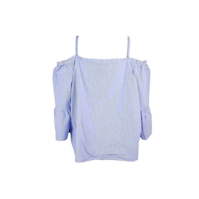 51b00a74a33762 Shop Inc International Concepts Blue Striped Embroidered Cold-Shoulder Top  XXL - Free Shipping On Orders Over  45 - Overstock.com - 24179682