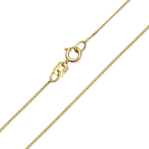 Cuban Curb Chain Link 14k Yellow REAL Gold 1.5 mm Thin 018 Gauge Necklace Women Made In Italy 14 16 18 20 22 Inch