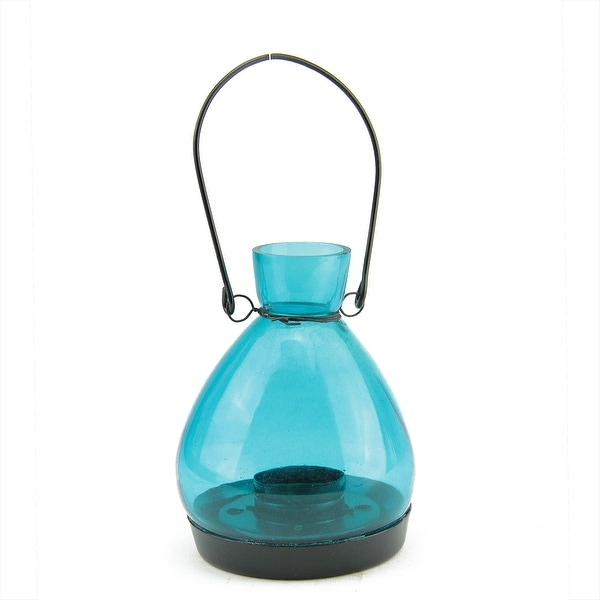 "5"" Transparent Blue Glass Tapered Bottle Tea Light Candle Lantern Decoration"