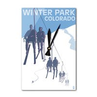 Winter Park, CO - Ski Lift - LP Artwork (Acrylic Wall Clock) - acrylic wall clock