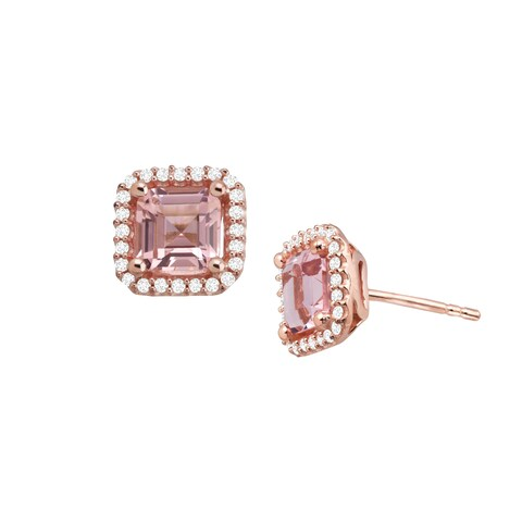 2 3/4 ct Simulated Morganite Stud Earrings with Cubic Zirconia in 14K Rose Gold-Plated Sterling Silver