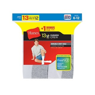 Hanes Men's Cushion Crew Socks 13-Pack (Includes 1 Free Bonus Pair)