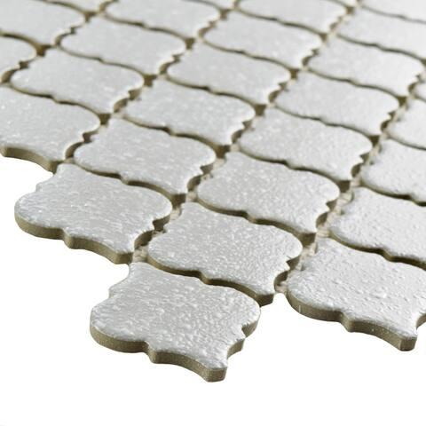 "SomerTile Hudson Tangier Crystalline Grey 12.38"" x 12.5"" Porcelain Mosaic Tile"