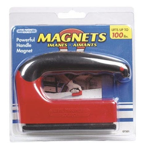 Master Magnetics 07501 Powerful Handle Magnet With Rubber Handle, 100Lb
