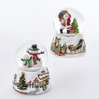 Pack of 6 Christmas Themed Musical Snow Motion Santa and Snowman Water Globe 3.94""