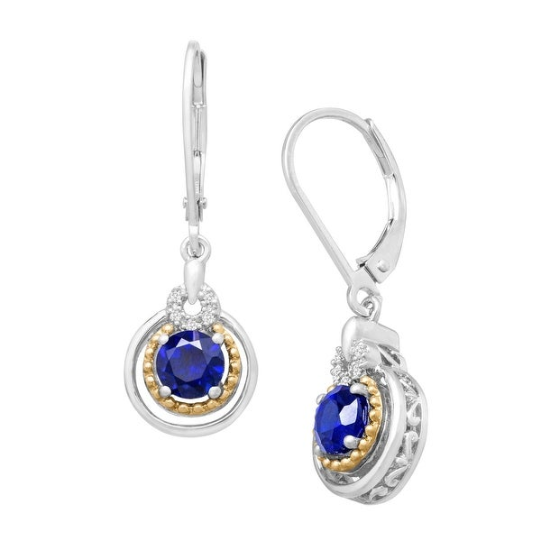 1 1/3 ct Created Sapphire Drop Earrings with Diamonds in Sterling Silver & 14K Gold