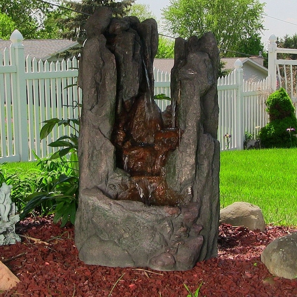 Sunnydaze Rock Cavern Falls Outdoor Rock Fountain with LED Lights - 38-Inch