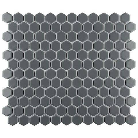 SomerTile 10.25 x 11.75-Inch Renova Hex Matte Grey Porcelain Mosaic Floor and Wall Tile (10 Tiles/8.56 sqft.)