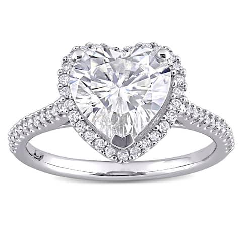Miadora 3ct DEW Moissanite & 1/4ct TDW Diamond Heart Halo Engagement Ring in 14k White Gold