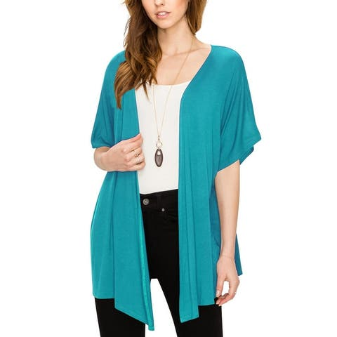 Womens Short Sleeve Open Front Loose Kimono Style Cardigan