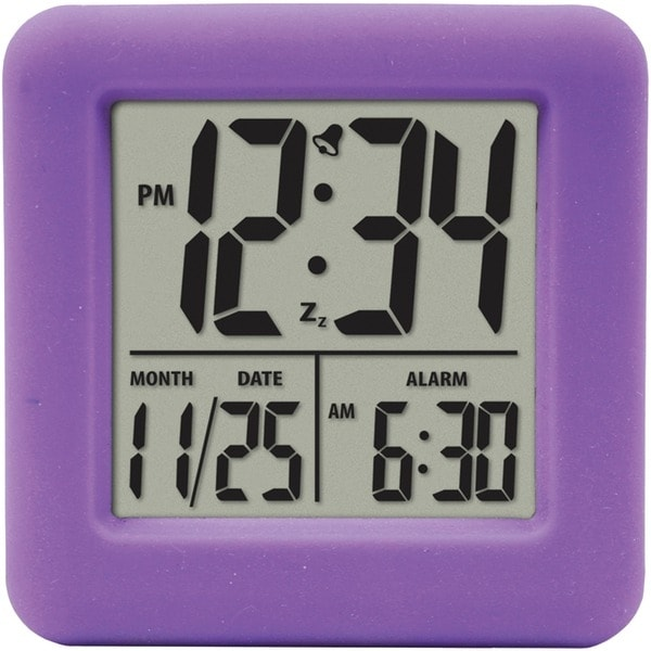 Equity By La Crosse 70904 Soft Cube Lcd Alarm Clock (Purple)
