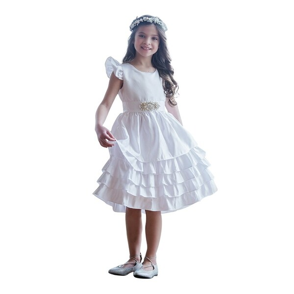 Think Pink Bows Baby Girls Off-White Cascade Sabrina Flower Girl Dress 1Y