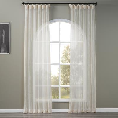 Exclusive Fabrics Open Weave Cream Linen Sheer Curtain (1 Panel)