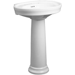 "Mirabelle MIRBR358A Boca Raton 24"" Porcelain Pedestal Bathroom Sink Only with Overflow and 3 Faucet Holes (8"" Centers)"