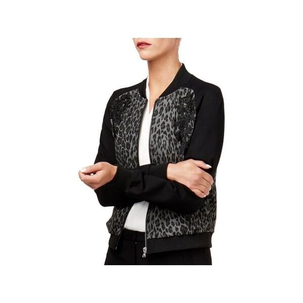 Kobi Womens Gayle Bomber Jacket Leopard Embroidered