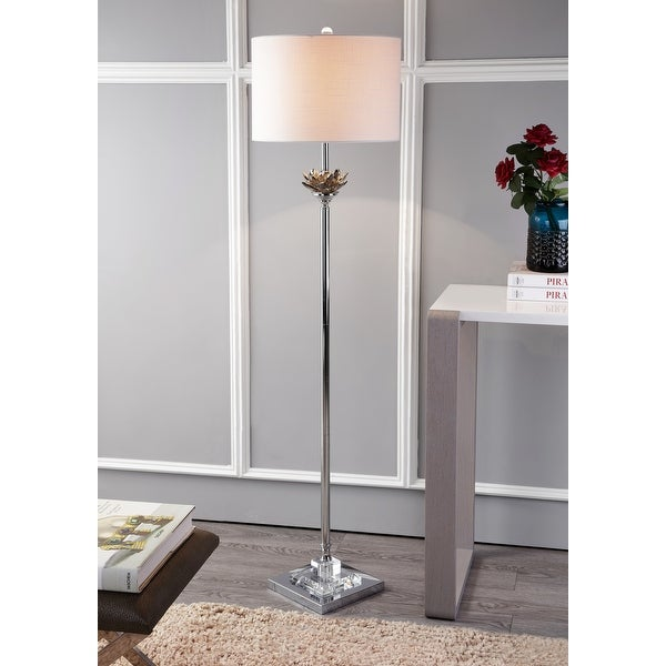 """Amelia Lotus 59"""" Crystal / Metal LED Floor Lamp, Smoke Gray/Chrome by JONATHAN Y - 59"""" H x 15"""" W x 15"""" D. Opens flyout."""