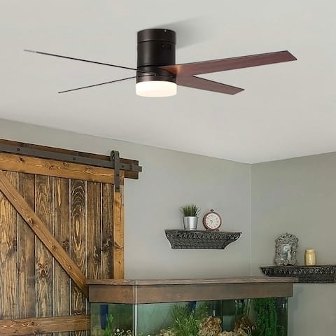 """CO-Z 52"""" 4 Reversible Blades Flush Mount LED Ceiling Fan w Remote Control and Light Kit"""