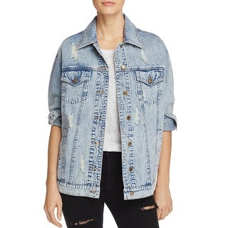 Honey Punch Womens Fearless Denim Jacket Distressed Embroidered