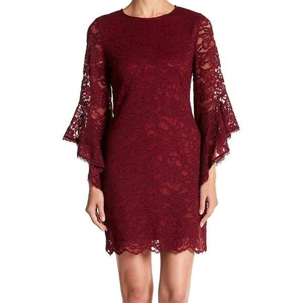 1f471ad5 Shop Laundry by Shelli Segal Lace Sheath Dress, Red, 4 - Free Shipping  Today - Overstock - 28013147