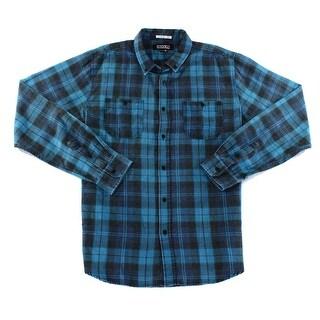 Ezekiel NEW Blue Deep Black Mens Size 2XL Flannel Button Down Shirt