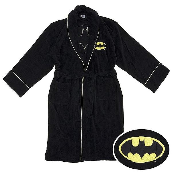 DC Comics Batman Logo Men's Cotton Bathrobe - Black