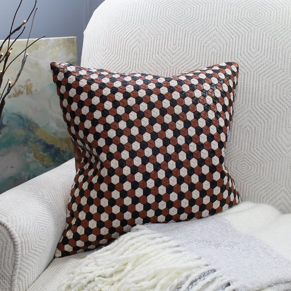 Natural Geo Brown/Black/White Leather Geometric Throw Pillow. Opens flyout.