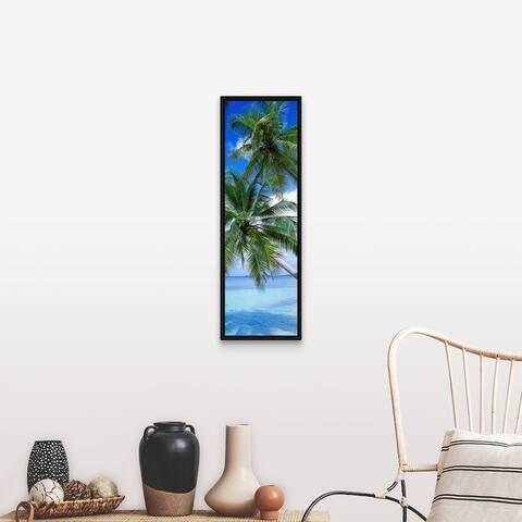 """Tropical Island Indian Ocean Maldives "" Black Float Frame Canvas Art"