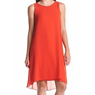 Vince Camuto NEW Orange Womens Size XS Chiffon Sleeveless Shift