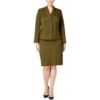 Le Suit Womens Plus Skirt Suit 2PC Solid - 18W