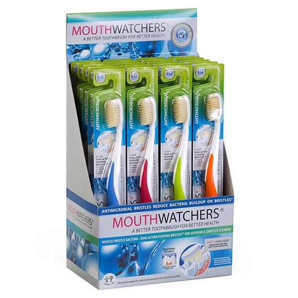 Mouth Watchers Antibacterial Adult Toothbrush Display Case - Assorted Colors - Case of 20