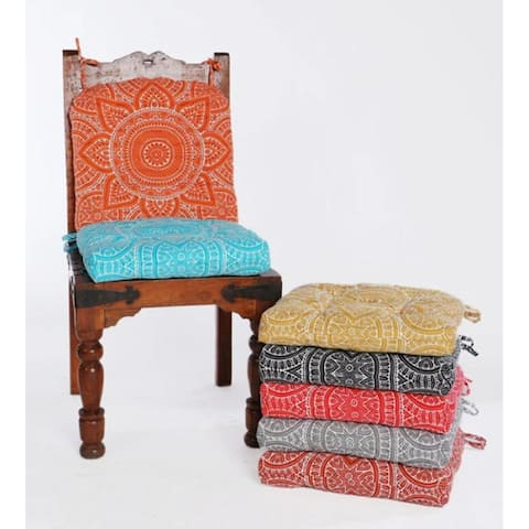 """Handmade Cotton Chair cushion 16"""" (Set of 2) Chair Pads with Ties"""
