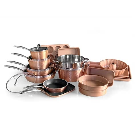 OrGreenic Rose Gold hammered Cookware & Bakeware 22PC SET