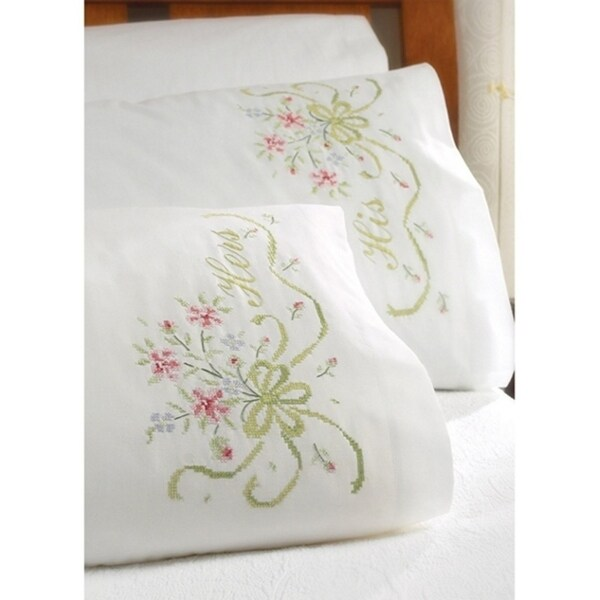 Bucilla Pillowcase Pair Bridal Bouquet Stamped Embroidery (20 X 30 Inches)