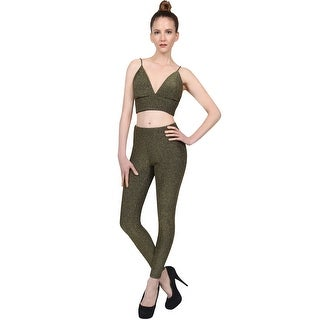 NE PEOPLE Women's Sexy Glitter Strap Bra Crop Top & Pants 2 Pieces Set