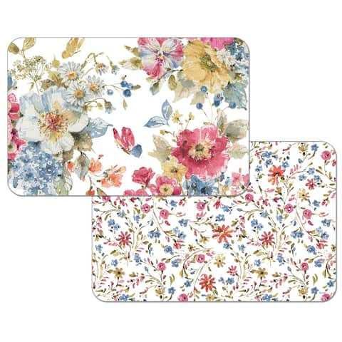 Reversible Wipe-clean Counterart Placemats Set of 4 - Summer Garden