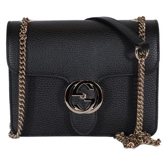 c00af034fd6 Shop Gucci Women s Black Leather 510304 Interlocking GG Crossbody Purse  Handbag - 7.75