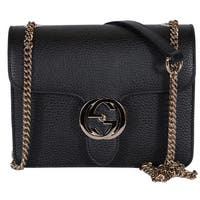 "Gucci Women's Black Leather 510304 Interlocking GG Crossbody Purse Handbag - 7.75"" x 6"" x 3"""